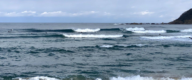 初乗りサーフィン八丁浜 からの木津温泉で蟹三昧